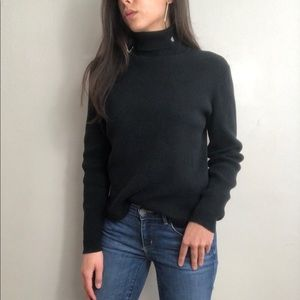 Ralph Lauren black ribbed knit turtle neck sweater
